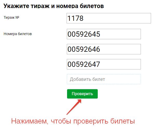 """Указываем номера тиража и нескольких билетов """"Русского лото"""" на www.stoloto.ru"""